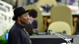 President Goodluck Jonathan speaking at the United Nations in 2013 (AFP Photo/Stan Honda)