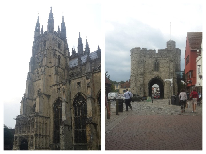 Left: Entrance to the Canterbury Cathedral; Right: Westgate Tower (Roman remains which is kinda literally on the Stour)