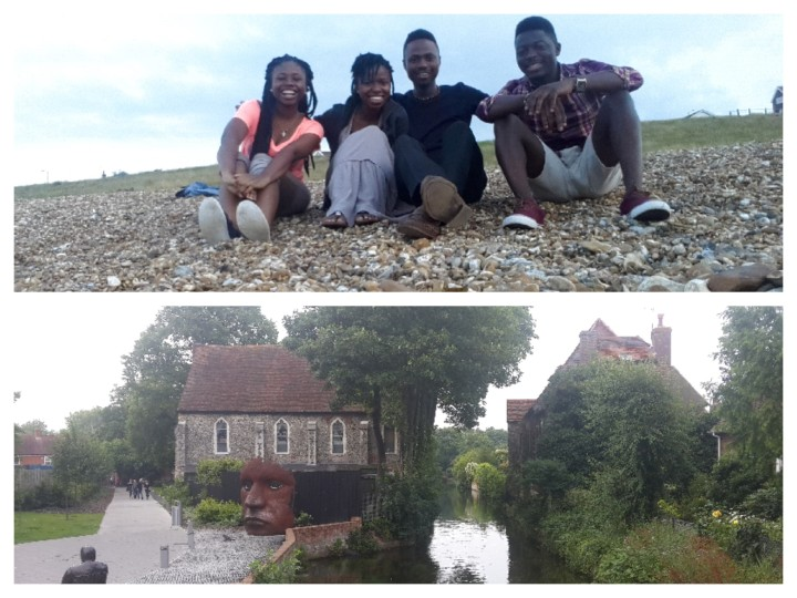 Top: My friends and I at Whitstable pebble beach; Bottom: The Stour at another point (near the theatre)