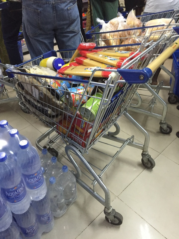I really can't say if this is just someone's regular shopping, or a conscious effort to stock up :-)