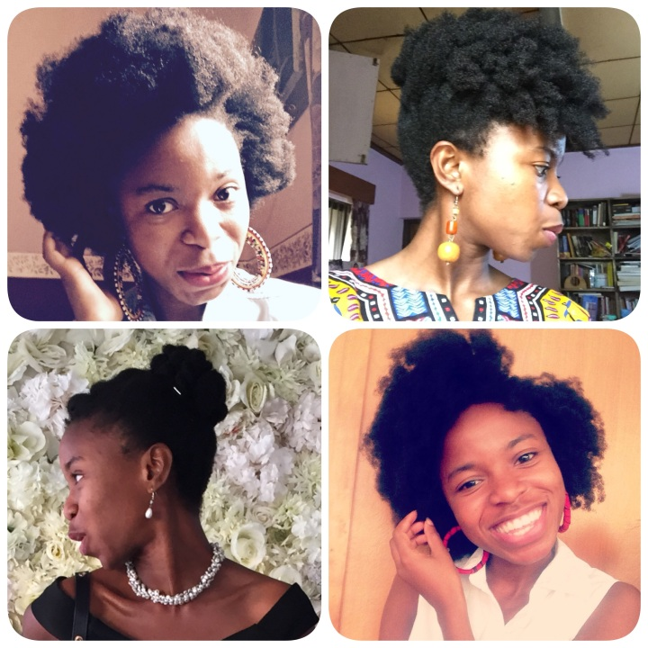Pre Kiko styles (clockwise from top left): the chunky 'fro, the Cascading UpDo, the Flat Twist-Out, and the Classy Bun